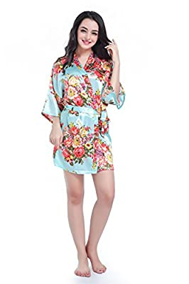 Women's Kimono Floral Robes for Bride and Bridesmaid Wedding Party Satin Robes Nursing Gown Short