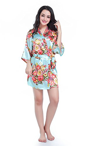 DF-deals Womens Robes Kimono Satin Floral Robes for Bride Bridesmaid Wedding Party Gift Silk Robes Nursing Gown