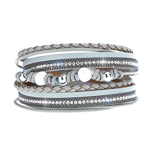 Pearl Gray Leather - EGOO YAMEE Leather Wrap Wristband Bracelet - Pearl Boho Multilayer Braided Cuff Bangle - with Magnetic Buckle Handmade Jewelry for Women and Girls Gift(Gray)