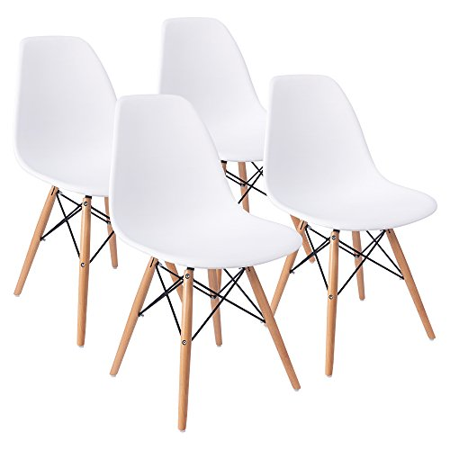 Furmax Eames Style Chair Mid Century Modern Dining Chair Side Chair With Beech Wood Legs and Soft Padded Shell Chair for Dining Room Living Room Bedroom Kitchen, Set of 4 (White) (Dining And Room Table Chair)