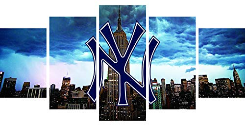 5 Piece Wall Art Painting Canvas Print Picture Artwork for Home Modern Decoration Print Decor for Living Room Bedroom Baseball Posters Without Frame Wall Decor Canvas Prints (Frameless, Yankees)