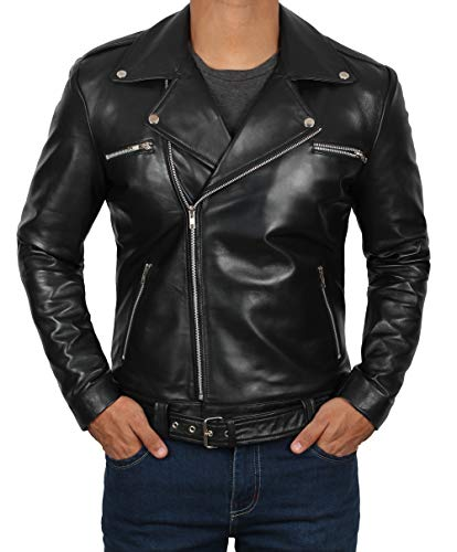 Motorcycle Leather Jacket Men - Black Real Mens Leather Jackets for Biker | Negan, M