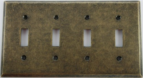 Aged Antique Brass 4 Gang Toggle Wall Plate by Classic Accents, Inc