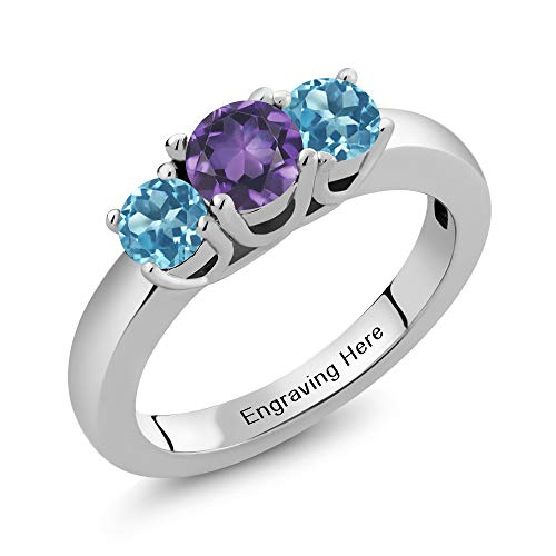 Gem Stone King Build Your Own Ring - Personalized 3 Birthstones Ring in Rhodium Plated 925 Sterling Silver (Size 7)
