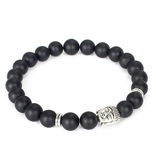 (Mikash Matte Agate Gemstones Gold Buddha Stretch Yoga Mala Beaded Energy Bracelets | Model BRCLT - 10285 |)