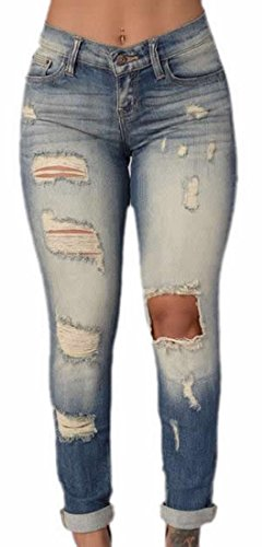 XQS Womens Vogue Faded Slim Washed Ripped Denim Jeans best