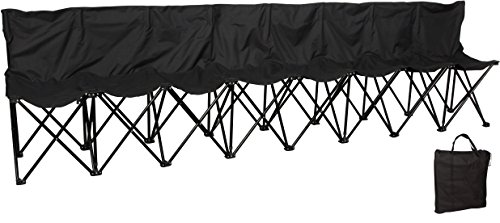 (Trademark Innovations Portable 8-Seater Folding Team Sports Sideline Bench with Back (Black))