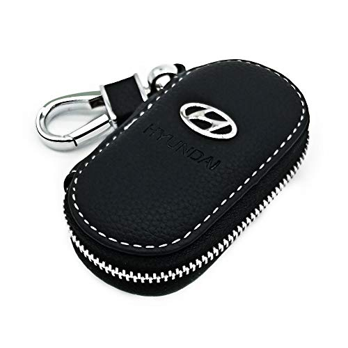 (VILLSION Universal Car Key Holder Genuine Leather Case with Stainless Steel Hook Remote Key Fob Case with Metal Zipper Keychain Suit for Men Women, Black)