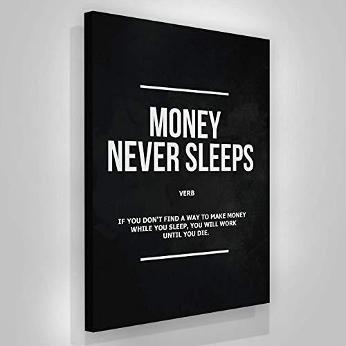 SuccessHunters Money Never Sleeps Canvas Print Wall Art Office Decor Wolf of Wall Street Entrepreneur Motivation (36