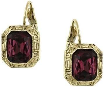 1928 Jewelry Siberian Purple Crystal Square Drop Earrings