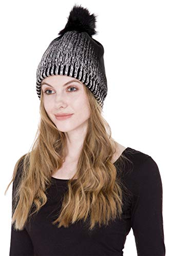 Janice Apparel Women's Sherpa Lined Winter Plain Color Cable Knit Beanie Hat with Metallic Gold/Silver Print and Faux Fur Pom Pom (Black Silver)
