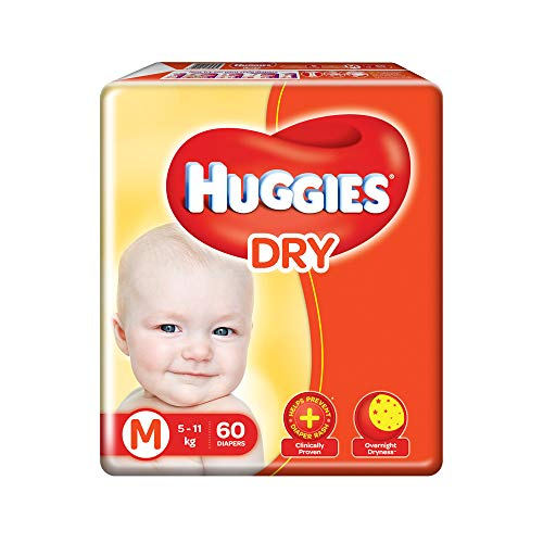 Huggies New Dry Taped Diapers Medium Size 60 Pieces at best price