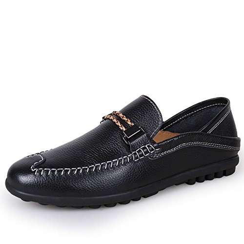SUNAVY - Escapines de lino para hombre, color negro, talla 39 EU