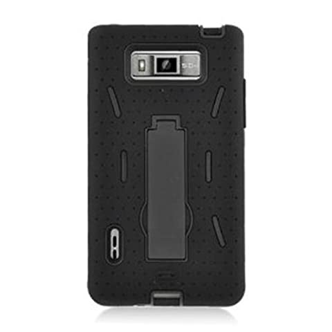 [ManiaGear] Heavy Duty Armor Case Combo Black/Black Case + ManiaGear Screen Protector for LG Optimus Showtime L86C/L86G (Stright (Phone Cases For Lg L86c Optimus)