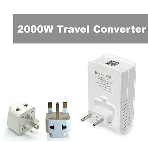 Price comparison product image LiteFuze 2000W Travel Voltage Converter for Hair Dryer - Dual USB for Cell Phones, Charger, European Asia Type C, Free Type I Australia, New Zealand, Type G UK, Hong Kong Plug Adapter - UK/EU/AUS