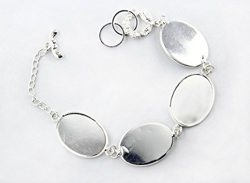 10pieces Silver Plated Oval Design Blank Setting Bezel Base Pad Bracelet for Jewelry Making Jewelry Findings BB18
