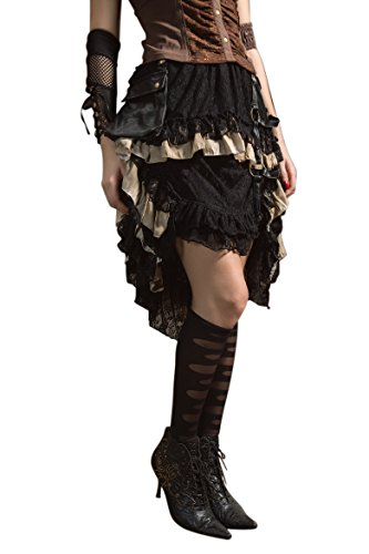 [Steampunk Victorian Gothic Lace Skirt Pirate Renaissance Costume With Fanny Pack] (Pirate Halloween Costumes Ideas)