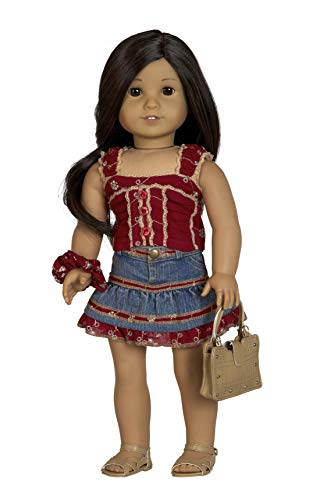 - Diana Collection Burgundy Eyelet Top with Denim Skirt. Complete Outfit with Sandals. Fits 18