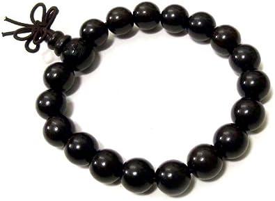 Agathe Creation–Pulsera–rosario budista–cuentas de madera de ébéne–diámetro 10mm–perlas no sculptées–N & # x153; ud de la felicidad–Buda–Negro–Hecho a mano