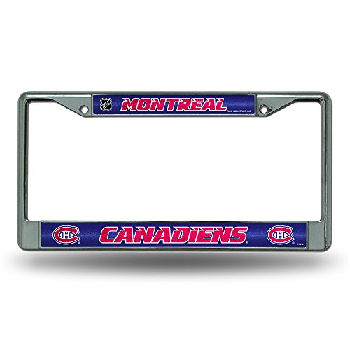 Rico NHL Montreal Canadiens Bling Chrome License Plate Frame with Glitter Accent Montreal Canadiens Collectibles