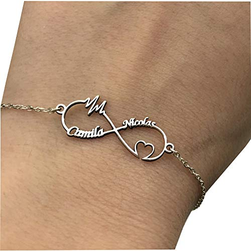 - Heartbeat Infinity Name Bracelets Couples Personalized 925 Sterling Silver Custom Made 2 Names