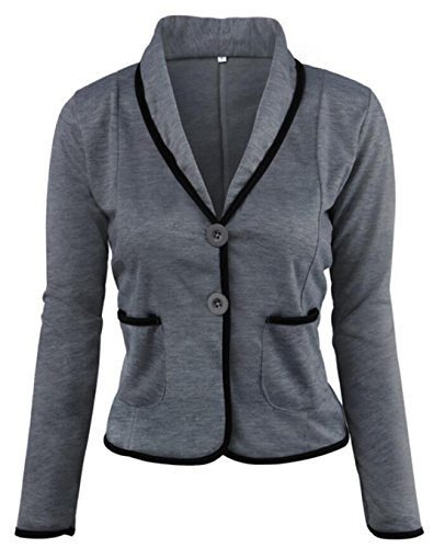BYWX-Women 2 Button Colorblock Contrast Piping Trim Cotton Blazer Jacket Dark Gray US XS