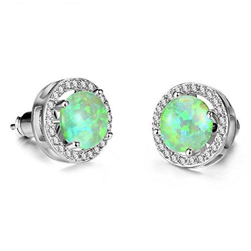 FidgetKute 8MM Round Green Opal Stud Earrings White Women Wedding Jewelry ()