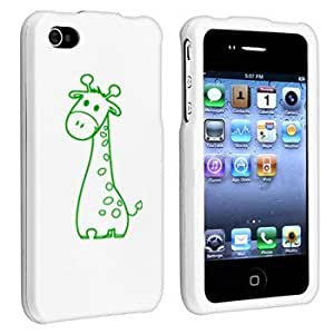 Apple iPhone 4 4S White Rubber Hard Case Snap on 2 piece Green Cute Giraffe wangjiang maoyi
