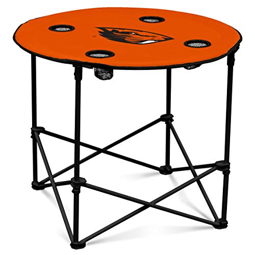 Oregon State Beavers Collapsible Round Table with 4 Cup Holders and Carry Bag