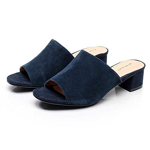 PENGFEI Chanclas de playa para mujer Zapatillas de compras Verano con zapatillas Mujer Sandalias de moda de moda Negro, azul y marrón Cómodo y transpirable ( Color : Azul , Tamaño : EU35/UK3.5/L:225mm Azul