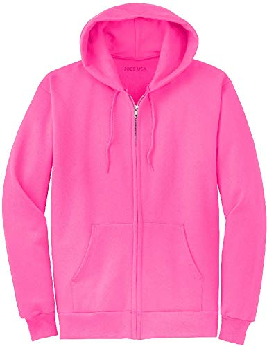 Pink Hoodie Sweatshirt - Joe's USA Full Zipper Hoodies - Hooded Sweatshirt Electric Neon Hot Pink, Xl