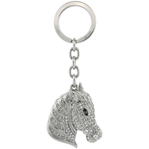 Horse Head Key Chain, Key Ring, Key Holder, Key Tag , Key Fob, w/ Brilliant Cut Swarovski Crystals, 4