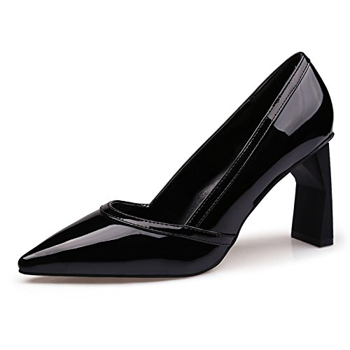 Einfach und zeigen die die zeigen Light-Tipped Dick mit high-heeled Frauen Schuhe bemalte Leder Einzel Schuhe Buchse, Schwarz, 37 - db9db3