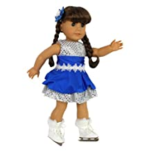 """Doll Clothes for 18"""" Dolls: 3 Piece Ice Skating Outfit and Skates -""""Dress Along Dolly"""" (Includes Sparkly Ice Skating Skirt, Skates, and Hair Clip)"""