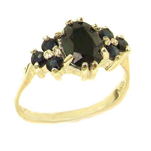 14k Yellow Gold Natural Sapphire Womens Cluster Ring - Sizes 4 to 12 Available (Yellow 14k Gold Natural Sapphire)