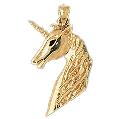 Unicorn 14k Pendant Gold Yellow (14K Yellow Gold Unicorns Pendant - 30 mm)