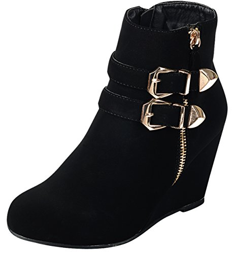 Strappy Zipper (Forever Link Women's Ankle Strappy Buckle Zipper Wrapped Wedge Ankle Bootie,9 B(M) US,Black)