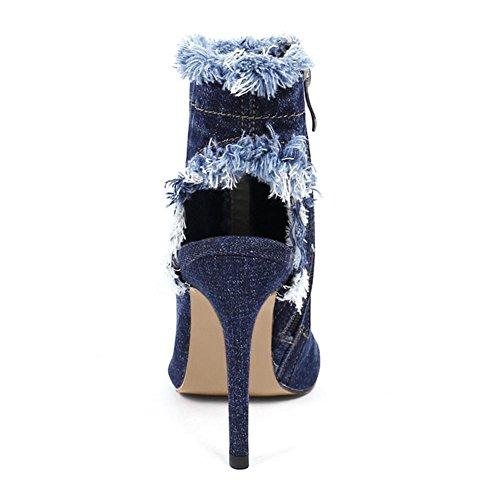 botas azul 41 fino XIAOGANG mujer corta usar 2 antideslizante pescado resistencia talón vaquera H HOtoño goma de piercing boca tela Hww7C