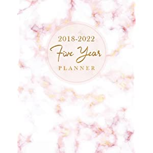 2018 2022 five year planner elegant marble 60 months calendar yearly goals monthly task