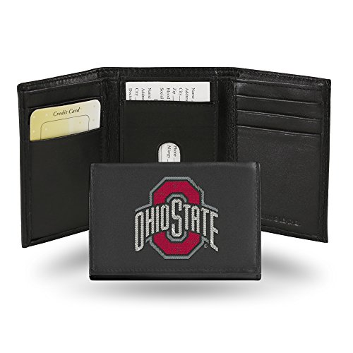 Rico Industries NCAA Ohio State Buckeyes Embroidered Leather Trifold Wallet