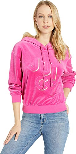 Juicy Couture Women's Juicy Embossed Velour Hooded Pullover Raspberry Pink Small