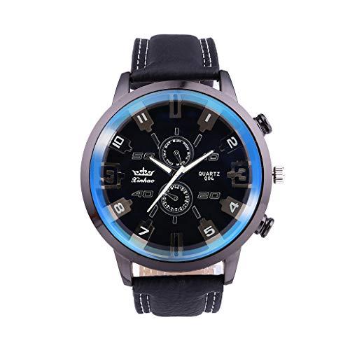 XBKPLO Mens Quartz Watch,Retro Sport Luxury Large Dial Analog Mechanical Wrist Watches Leather Strap Fashion Jewelry Gift