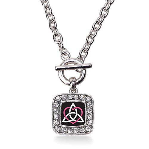 Inspired Silver - Celtic Sisters Knot Toggle Charm Necklace for Women - Silver Square Charm 18 Inch Necklace with Cubic Zirconia Jewelry