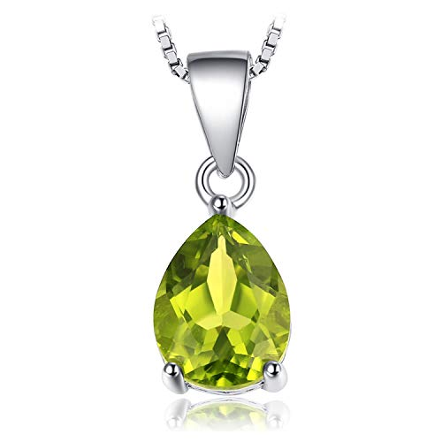 JewelryPalace Pear 1.5ct Natural Green Peridot Birthstone Solitaire Pendant Necklace 925 Sterling Silver 18 Inches