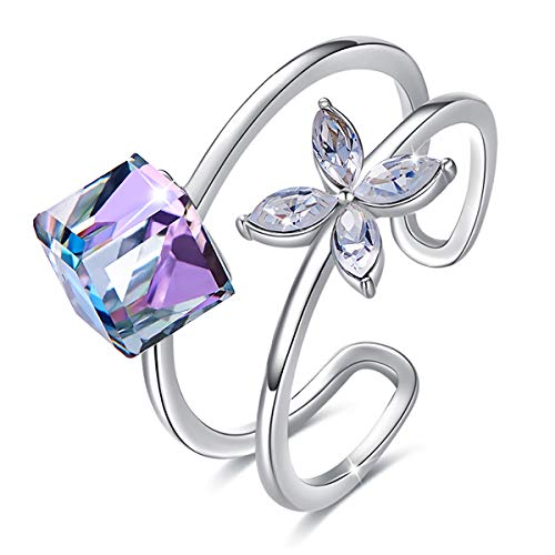 (CRYSLOVE Women Open Ring, White Gold Plated Adjustable Cube Crystal Flower Free Size Open Ring Valentines Day Anniversary Birthday Gifts Jewelry)