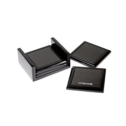 Executive 4 Piece Coaster Set with Holder - Executive Coaster Set