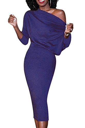 Vestiti 4 Cocktail Lunghi Cerimonia 3 dalla Sexy Spalla Invernali Blu Matita Autunno Abiti Bodycon Midi Slim Eleganti Stretti Nuda Festa Maniche Vestito Donna q6p8x8
