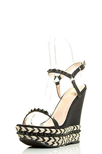 Achtervolging & Chole Dames Open Teen Spike Stud Mary Jane Espadrille Sleehak Pumps Sandaal Zwart