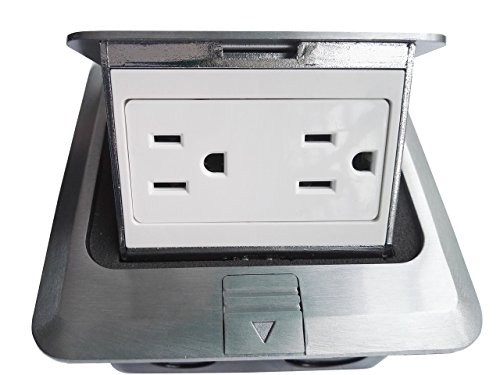 Pop Up Floor Box Countertop Box w/15A with Duplex Receptacle - Brushed-Stainless Finish by Supair (Image #1)