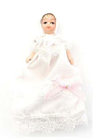 Dolls House Victorian Baby in Christening Gown Miniature Porcelain People